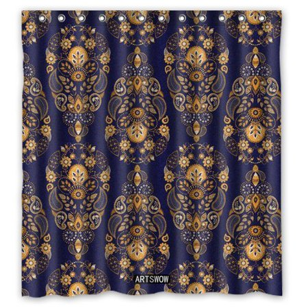 HelloDecor Gold and Blue Background Shower Curtain Polyester Fabric Bathroom Decorative Curtain Size 60x72 Inches ()
