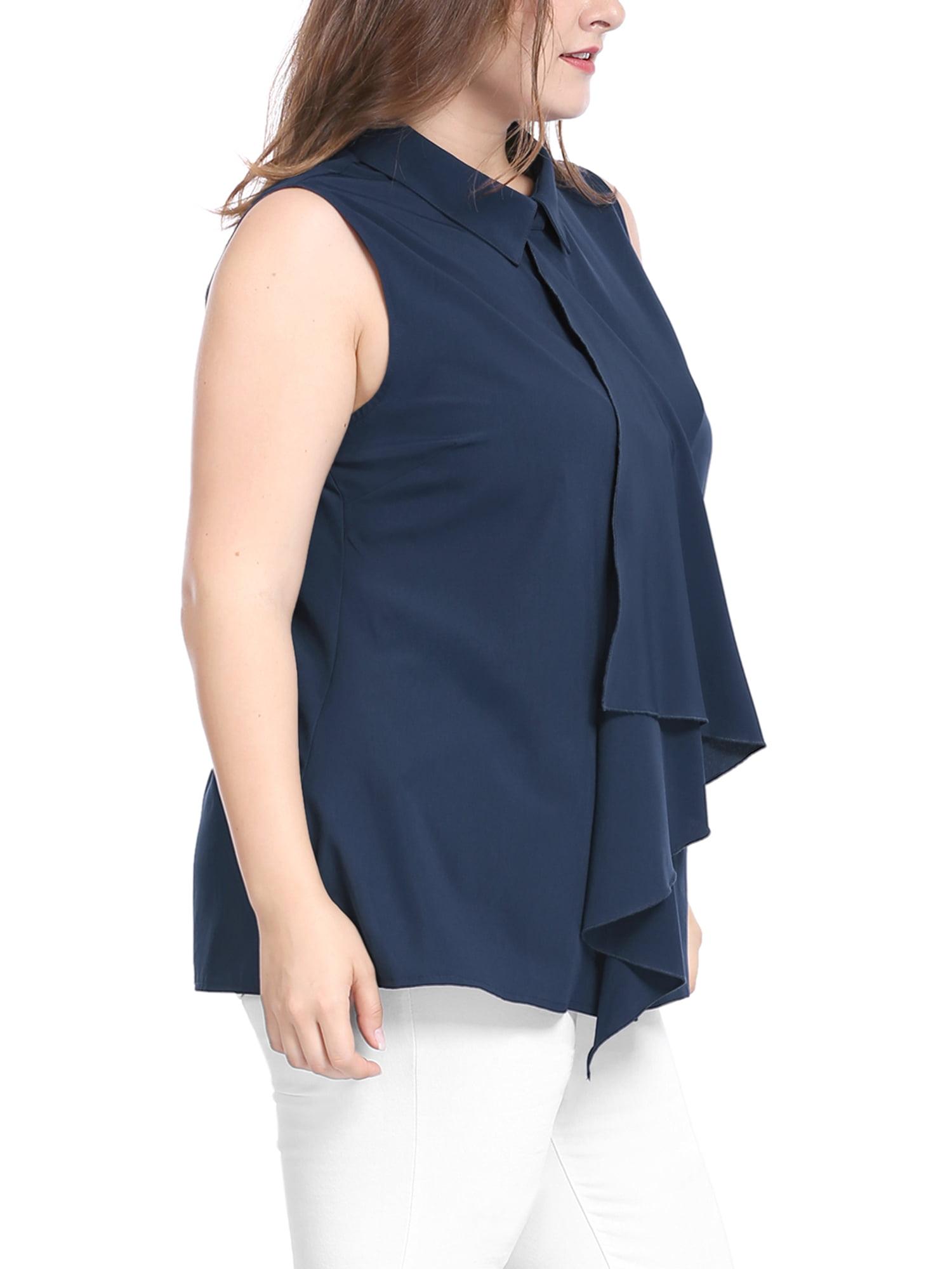 8dcf3bb08c39c Unique Bargains - Women s Plus Size Blouses Placket Ruffle Fashion  Sleeveless Shirt Tops Blouse - Walmart.com