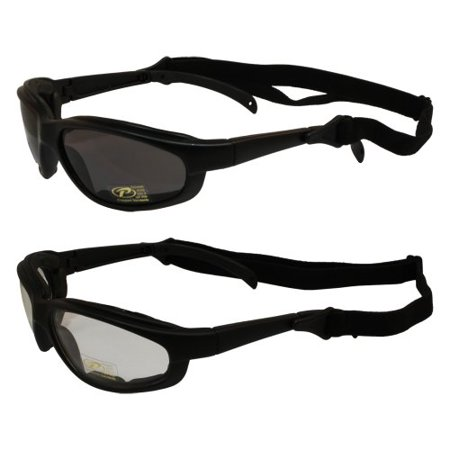 Padded Motorcycle Sunglasses (2 Pairs of Freedom Padded Motorcycle Sunglasses Smoke and Clear Lens )