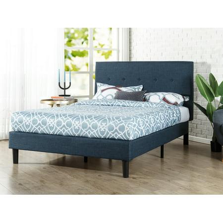Zinus Omkaram Upholstered Navy Platform Bed, Multiple Sizes