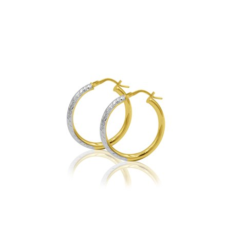 10kt Two Tone Gold Round Hoop (Pattern Two Tone Earrings)