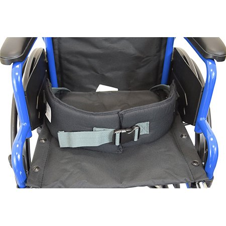 Secure EZ Release Soft Wheelchair Seat Belt, Black/Gray - One Size Fits Most