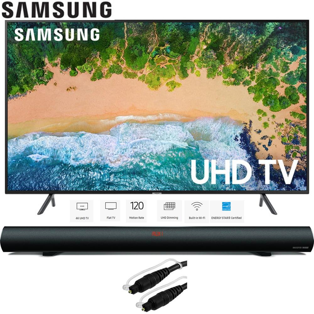 """Samsung 58"""" NU7100 UHD 4K HDR LED Smart TV 2018 Model (UN58NU7100FXZA) with Sharper Image 37"""" Sound Bar Bluetooth Speaker & 6ft Optical Toslink 5.0mm OD Audio Cable"""