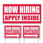 Now Hiring, Apply Inside Vinyl Banner and Outdoor Sign Set, Size 2' x 4' and 18 Inch x 24 Inch