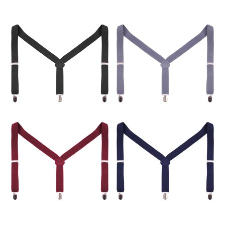 Enimay Men s Suspender Pack of 4 Solid Plaid Printed Two-Tone Adjustable  Clip On - Walmart.com d0dacb97a