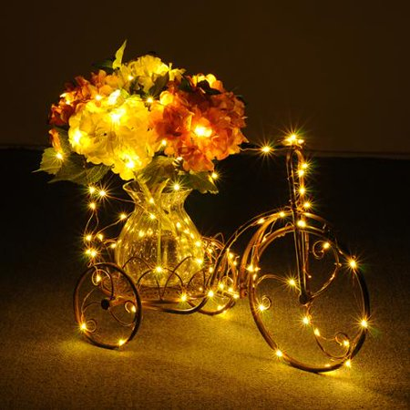 COUTLET String Lights Copper Wire 100 Individual LEDs with Warm White (Amber Champagne-gold) For ...