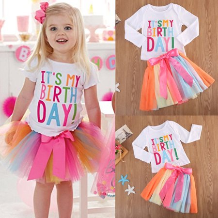 Baby Girl Kid Toddler ITS MY Birthday T-shirt+tutu Skirt Dress Outfit Clothing NEW