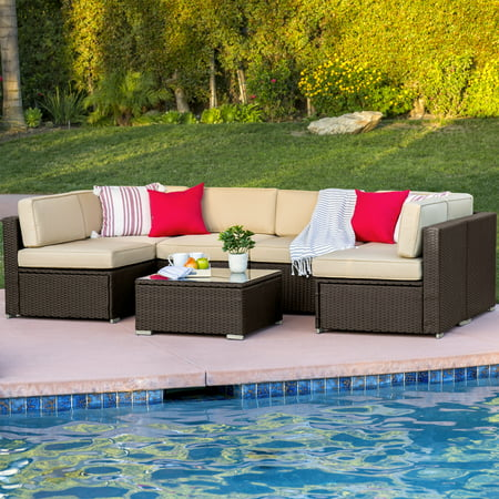 Best Choice Products 7-Piece Outdoor Modular Sectional Wicker Patio Furniture Conversation Set w/ 6 Chairs, Coffee Table, and Minimal Assembly Required, Brown