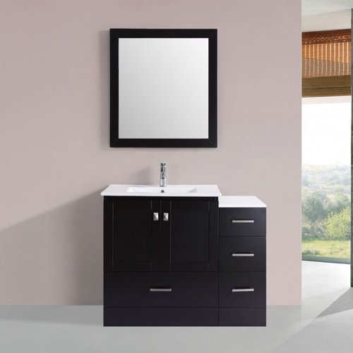 Latitude Run Luci Modern 42'' Single Bathroom Vanity Set with Mirror