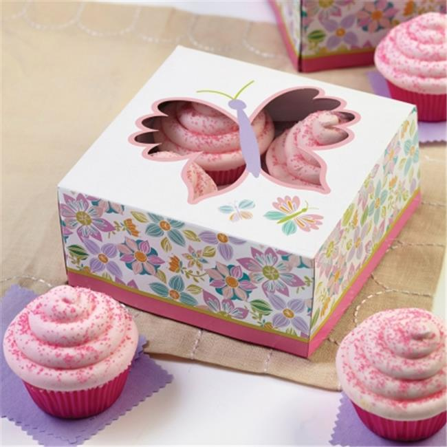W7911 Cupcake Boxes, Artistic Butterfly 4 Cavity