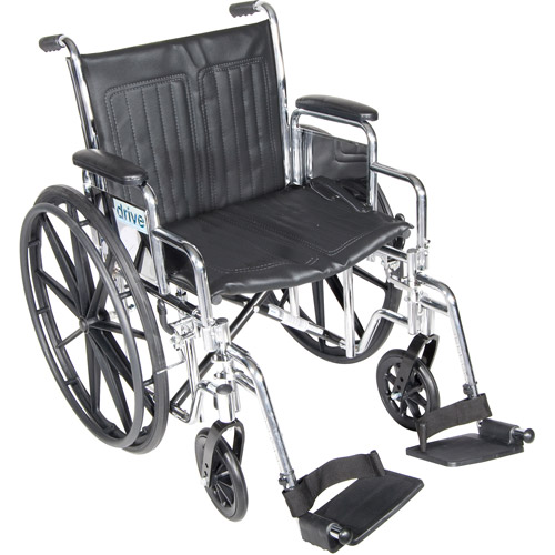 "Drive Medical Chrome Sport Wheelchair, Detachable Desk Arms, Swing away Footrests, 18"" Seat"