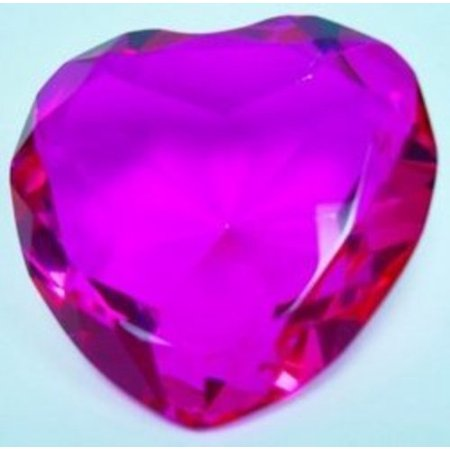 Glass Diamond Heart Jewel Paperweight- Hot Pink (80mm), Hot Pink Color Glass Heart-shaped Paperweight, Party favor or wedding decoration By United Joy USA