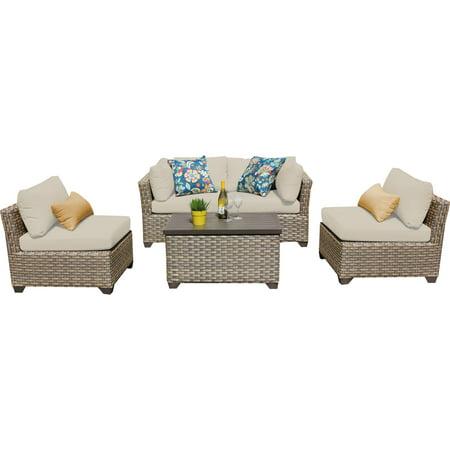 Hampton 5 piece outdoor wicker patio furniture set 05c for Outdoor furniture 5 piece