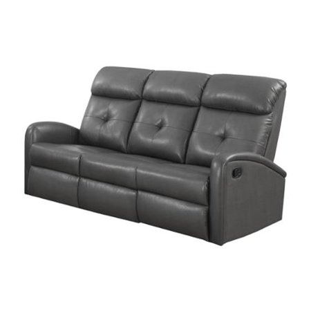 monarch charcoal grey bonded leather reclining sofa. Black Bedroom Furniture Sets. Home Design Ideas