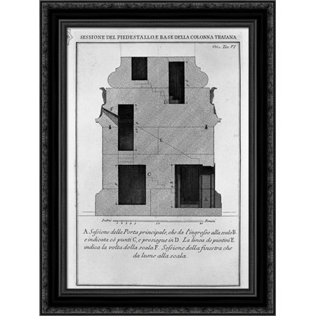 Section as above, the main door and window 20x24 Black Ornate Wood Framed Canvas Art by Piranesi, Giovanni Battista ()