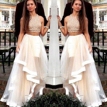 Two Piece Evening Bridesmaid Tulle Dress Formal Pageant Prom Party Gown Two Piece Bridesmaid Gowns