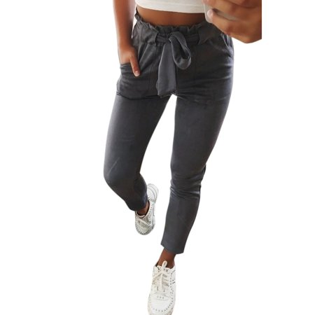 Women Casual Harem High Waist Pencil Cropped Pants Elastic Bow-knot OL Trousers Stripe Drawstring Slim Skinny Trouser ()