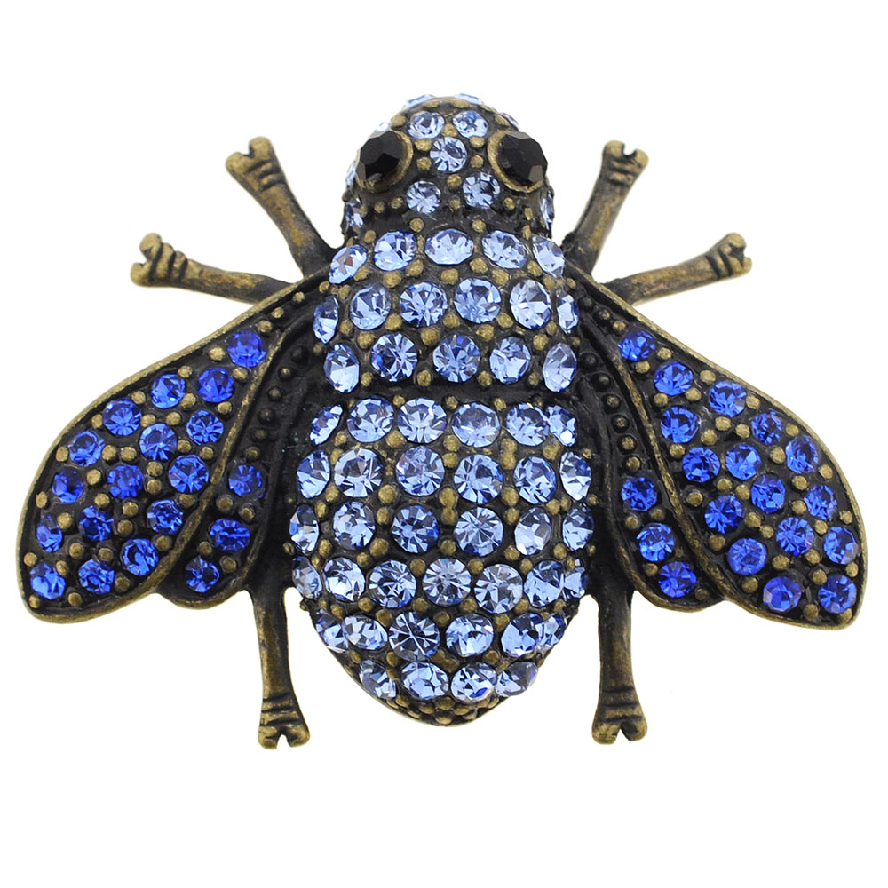Vintage Style Sapphire Blue Bee Pin Brooch by