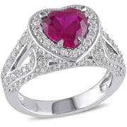 Tangelo 5 Carat T.G.W. Created Ruby and Created White Sapphire Sterling Silver Halo Heart Engagement Ring