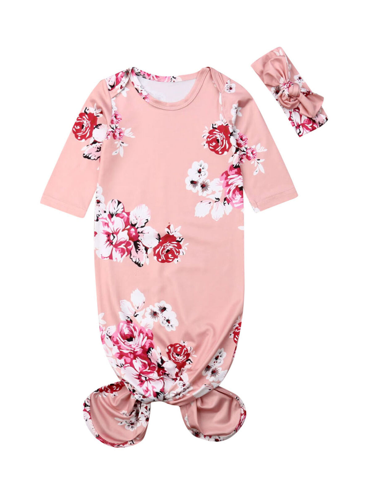 Infant Baby Gowns Newborn Girls Boys Sleep Sack Floral Nightgowns Headbands Pajamas Outfits
