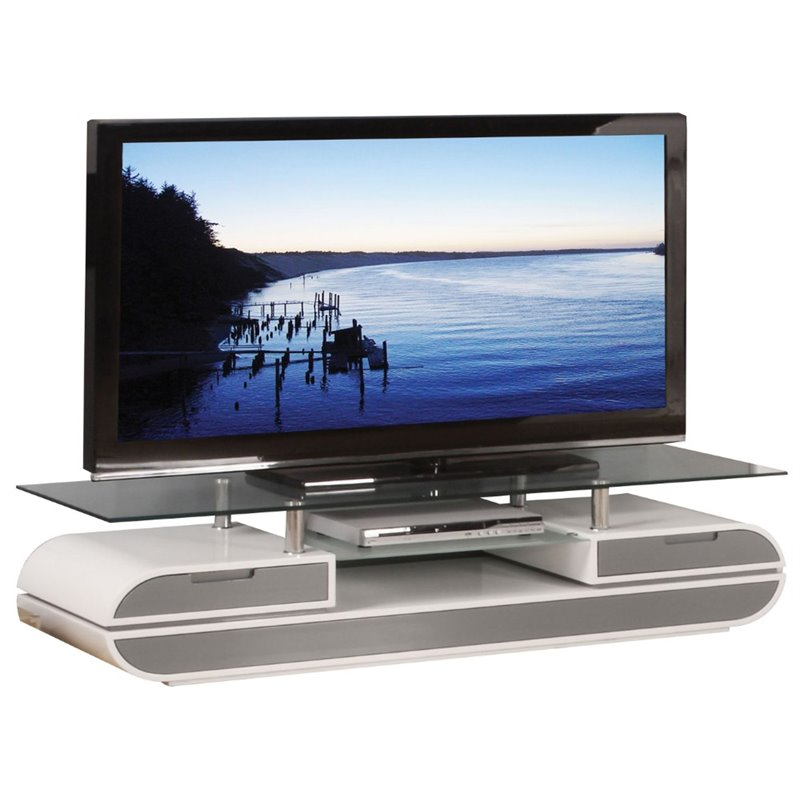 "Acme Lainey TV Stand for TVs up to 72"", White and Gray"