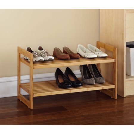 Mainstays 2 Tier Bamboo Shoe Rack, Natural Finish