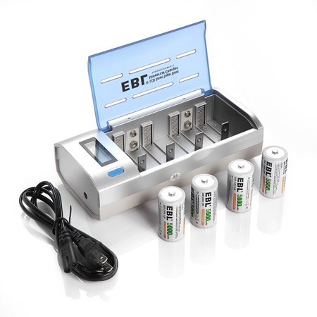 EBL 4-Pack 5000mAh Size C Batteries + LCD Battery Charger