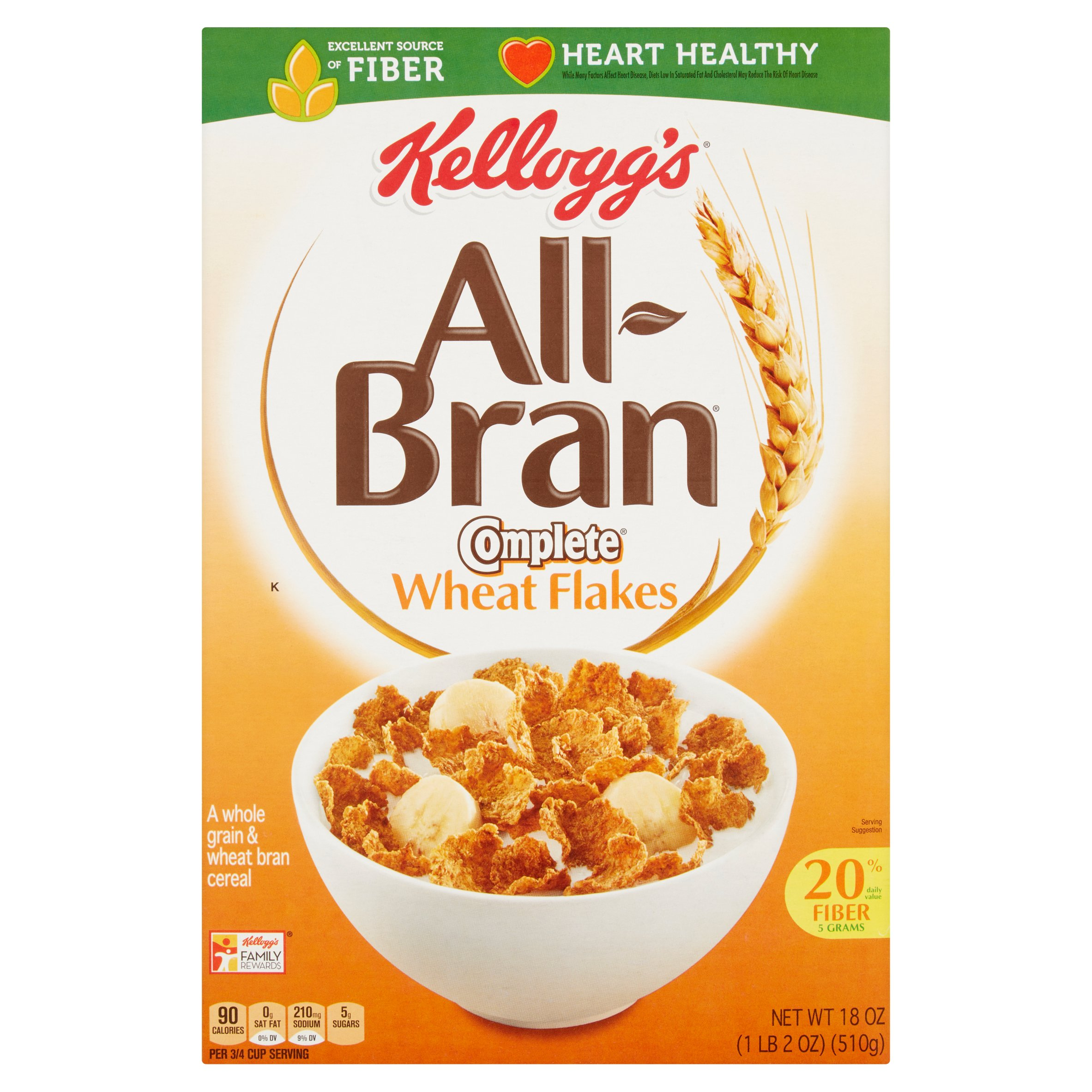 Kellogg's All-Bran Complete Wheat Flakes, 18 oz