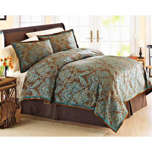 Better Homes And Garden Teal Jacquard Comforter Cover Mini Set Teal/Brown