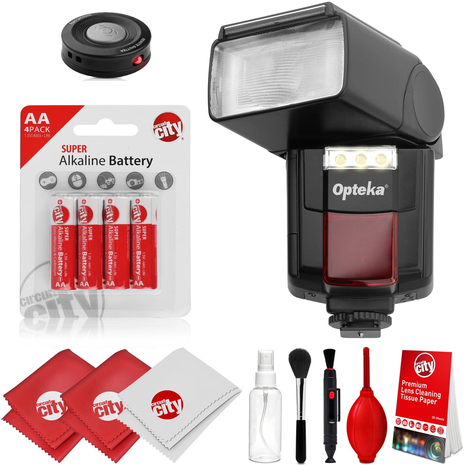 Opteka IF-800 Autofocus Speedlight Flash with Built-In LED Video Light w/  IR Remote + Cleaning Kit for Canon 80D, 77D, 70D, 7D, 6D, 5D, T7i, T7s,  T6i,