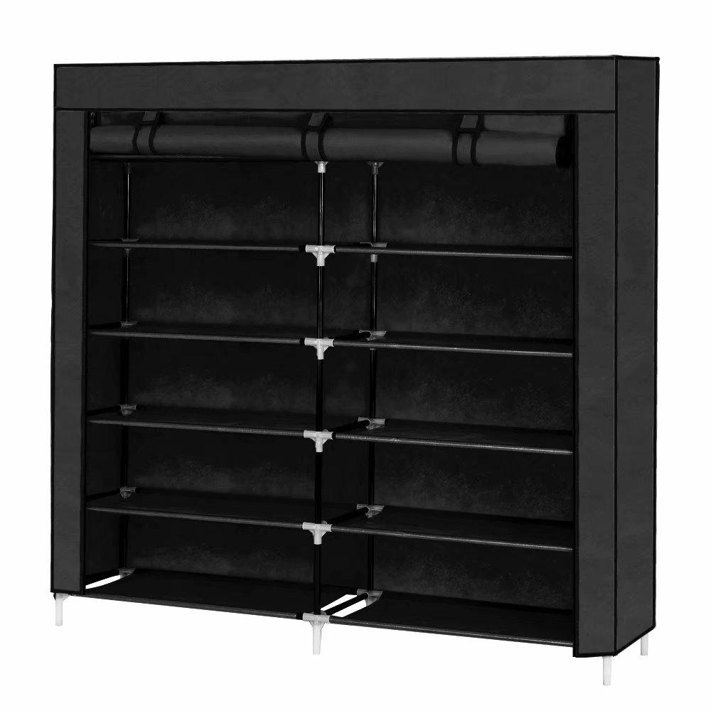Clearance!7 Tiers Portable Shoe Rack Closet Fabric Cover Shoe Storage Organizer Cabinet Black
