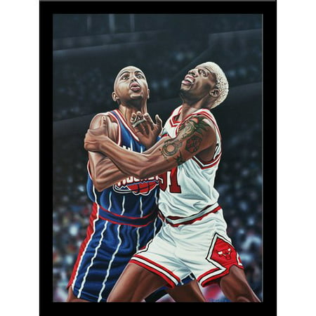 Buy Art For Less Dennis Rodman And Charles Barkley Battle For A Rebound Print Poster By Darryl Vlasak Framed Memorabilia