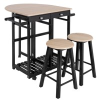 Product Image Zeny 3pc Wood Kitchen Island Rolling Cart Set Dinning Drop Leaf Table W 2 Stools