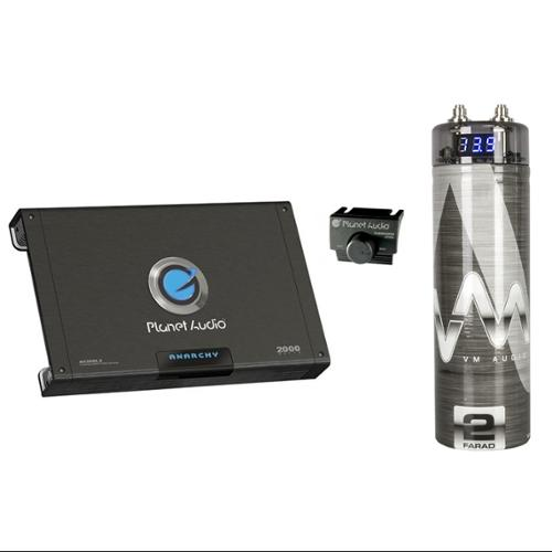 PLANET AUDIO AC2000.2 2000W 2 Channel Car Amplifier + Remote + 2 Farad Capacitor