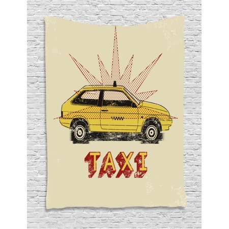 - Retro Tapestry, Pop Art Style Old Fashioned Taxi Cab with Grunge Effects Vintage Car Graphic, Wall Hanging for Bedroom Living Room Dorm Decor, 40W X 60L Inches, Beige Yellow Ruby, by Ambesonne