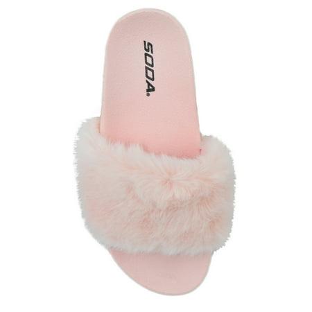 1d9048d95f0 Soda - Soda Women Slip on Soft Fur Fuzzy Sandals Slide Slippers Flat Flip  Flops YOGA-S Light Pink 7 - Walmart.com