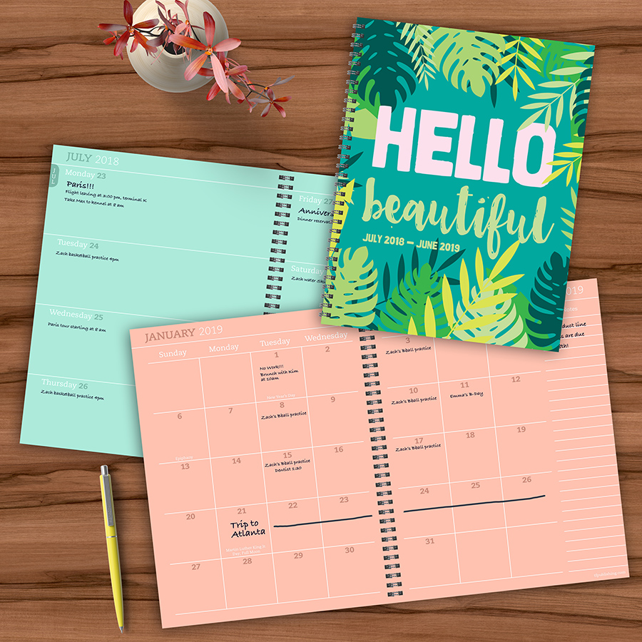 "2019 Tropical Hello Beautiful July 2018 - June 2019 Academic Year 11""x9"" Large Weekly Monthly Planner"