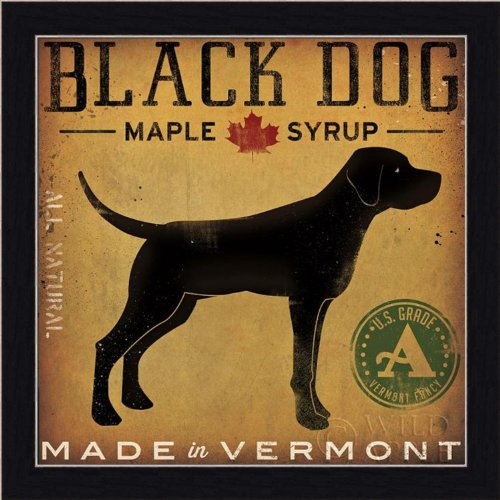 FRAMED Black Dog Maple Syrup by Ryan Fowler 12x12 Signs Dogs Black Labrador Animals Art Print Poster Vintage Advertising