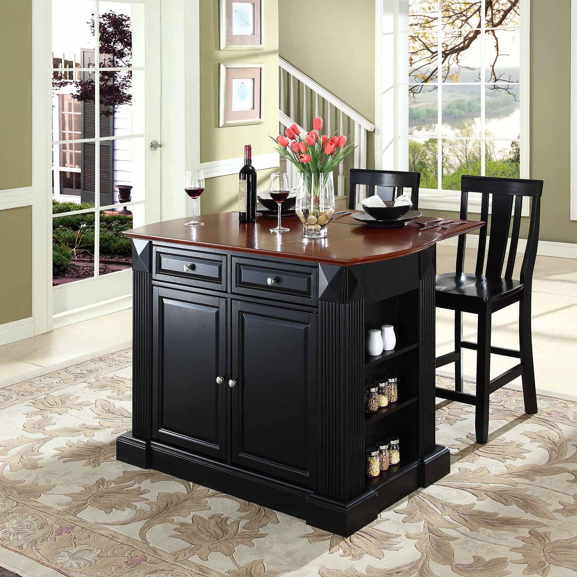"Crosley Furniture Drop Leaf Breakfast Bar Top Kitchen Island with 24"" Shield Back Stools"