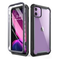 i-Blason Ares Case for iPhone 11 6.1 inch (2019 Release), Dual Layer Rugged Clear Bumper Case with Built-in Screen Protector (Black)