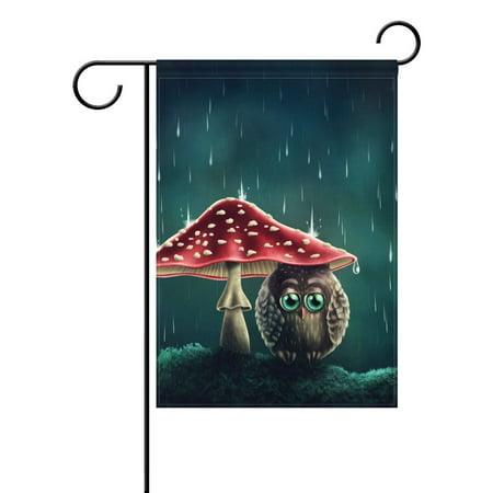 POPCreation Little Sad Owl Sitting under Mushroom Garden Flag Artwork Outdoor Flag Home Party 28x40 inches - Little Flags