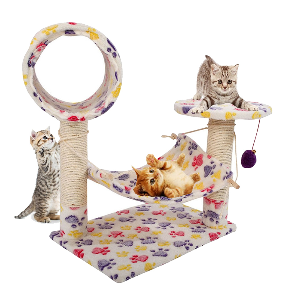 """Zimtown 23"""" Stable Tower Furniture Pet Play House Bed Sisal Cat Climb Holder Cat Tower Colorful Footprints Pet House Toy - image 7 de 7"""