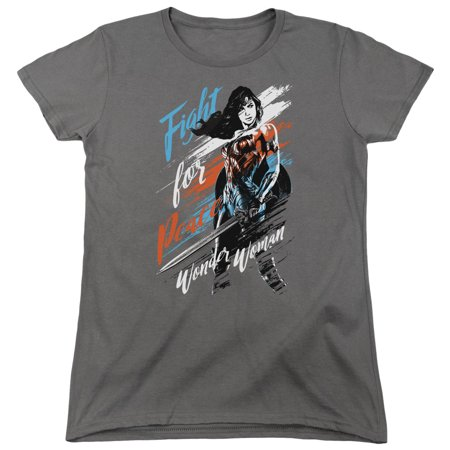 Wonder Woman Movie Fight For Peace T-shirt Trevco Charcoal Adult Women 100% Cotton Short Sleeve for $<!---->
