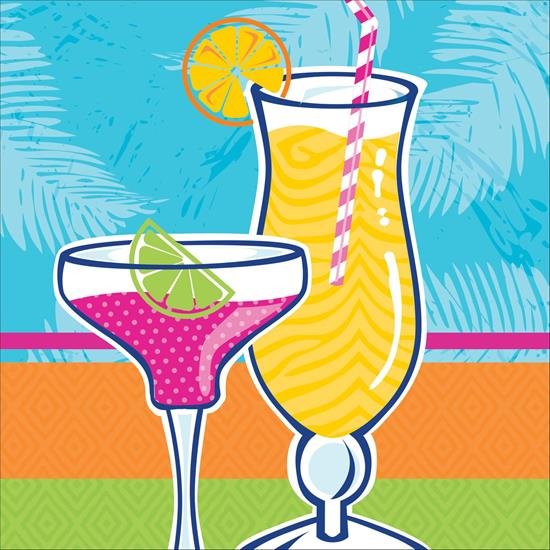 Summer Drinks Fancy Cocktail Glasses 18 Beverage Napkins by CREATIVE CONVERTING