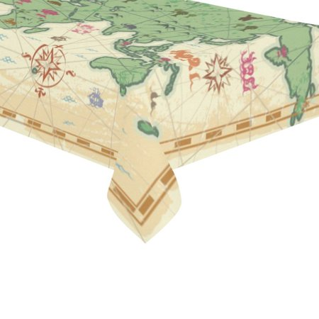 Mypop vintage world map cotton linen tablecloth sets 60x120 inches mypop vintage world map cotton linen tablecloth sets 60x120 inches ocean fantasy monsters desk sofa table cloth cover for party decor walmart gumiabroncs Image collections