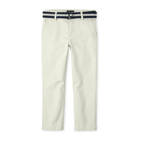 The Children's Place Boys Belted Stretch Chino Pants, Sizes 4-16, Slim & Husky Slim Chino Trouser