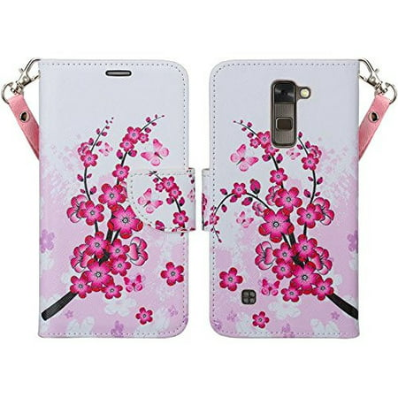 LG K8 | Phoenix 2 | Escape 3 Case, Wallet Case, Wrist Strap [Kickstand] Pu Leather Wallet Case with ID & Credit Card Slots for LG K8 | LG Phoenix 2 | LG Escape 3 - Cherry Blossom ()