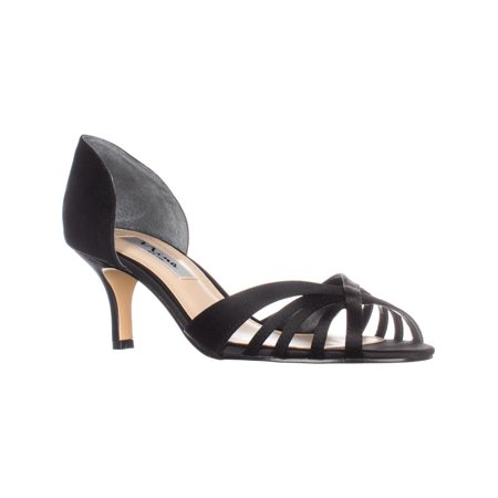 Nina Coella Open-Toe Dress Pump Heels, Black Luster - image 6 de 6