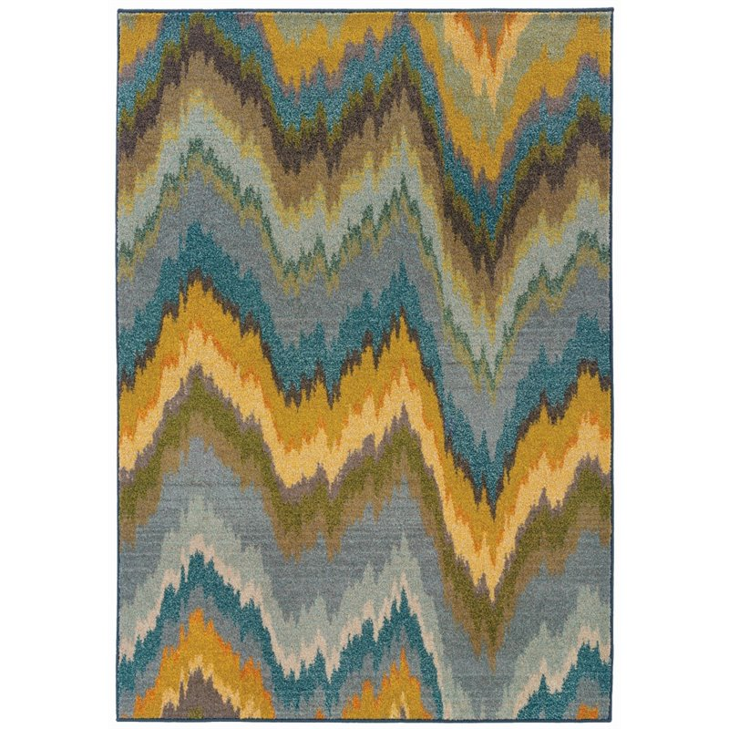 Sphinx Kaleidoscope Area Rugs   8020G Transitional Casual Yellow Washed  Stripes Lines Chevron Rug