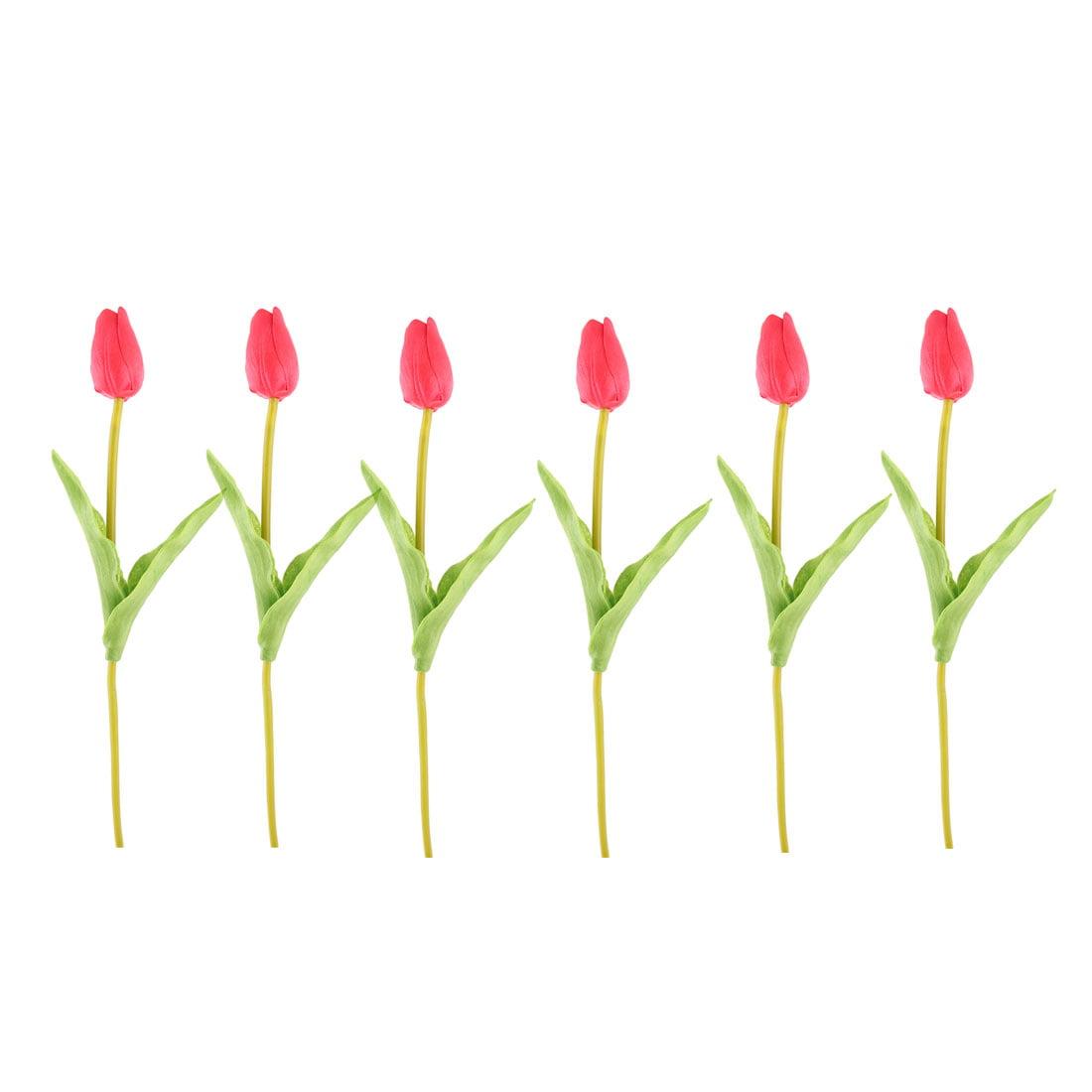 Wedding Tulip Design Handhold Artificial Flower Bouquet Red 13 Inch Height 6pcs